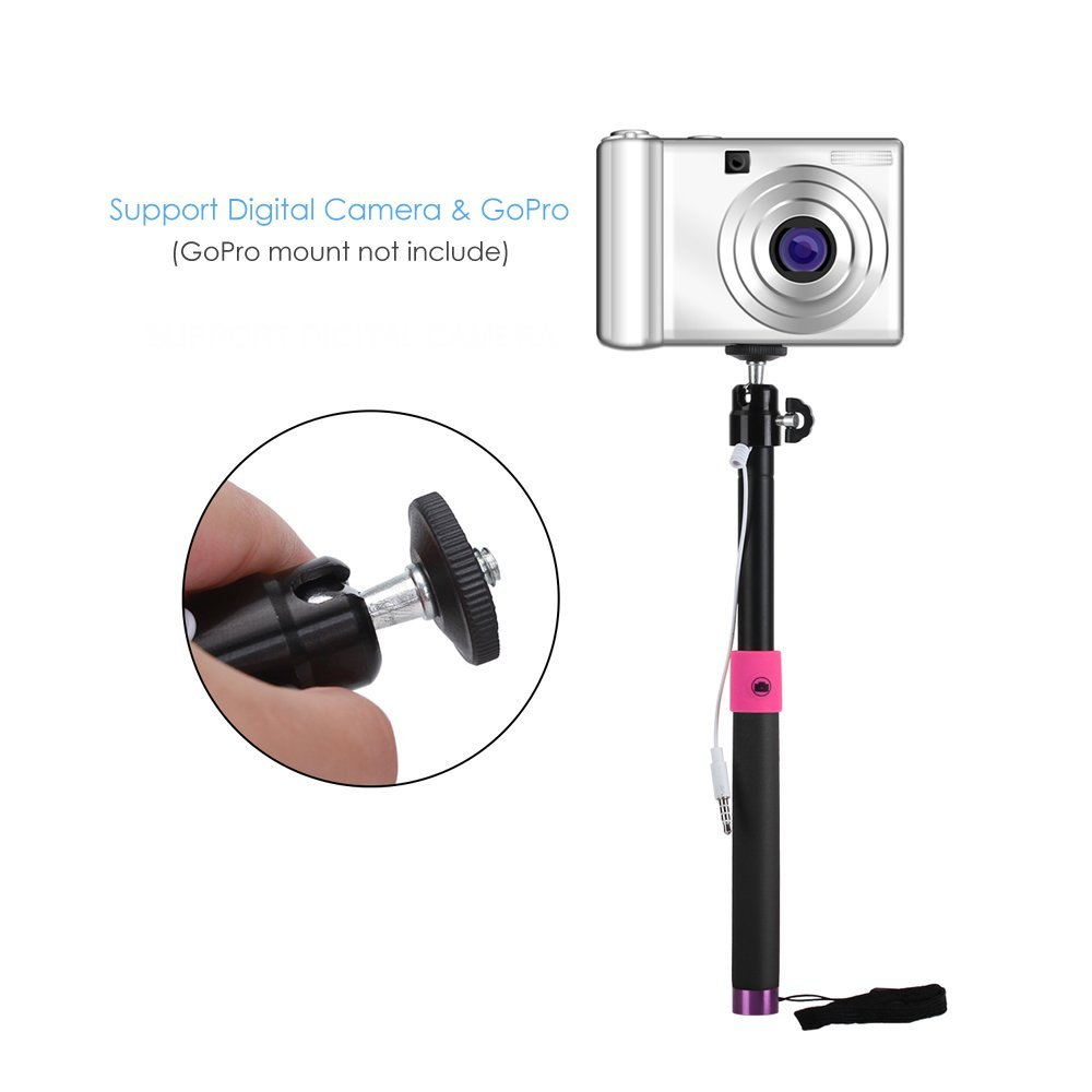 Selfie stick with screw to hold camera